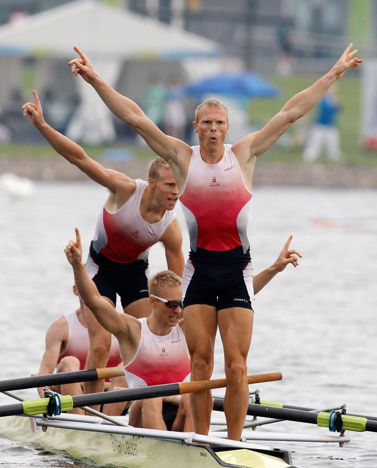 Thomas Ebert, Morten Joergensen, Mads Christian Kruse Andersen and Eskild Balschmidt Ebbesen of Denmark celebrate their gold medal in the Men's Fours at the Shunyi Olympic Rowing-Canoeing Park during Day 9 of the Beijing 2008 Olympic Games on August 17, 2008 in Beijing, China.