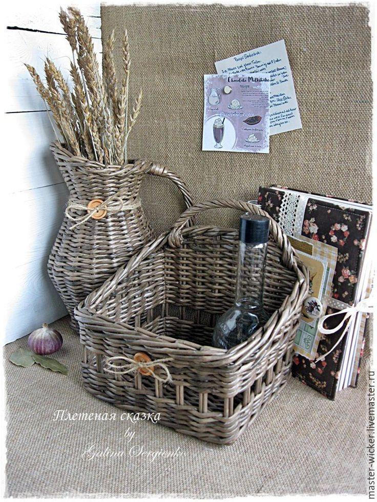 """Купить или заказать Кувшин и короб плетеные """"Деревенька моя"""".  Плетение, плетение из бумажной лозы, плетение из газет."""