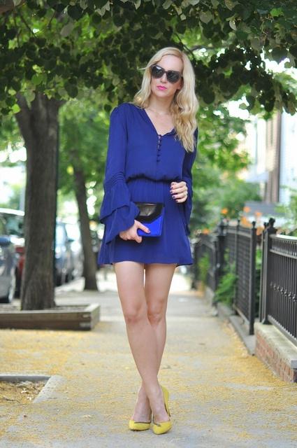 .: Summer Evening, Bright Blue Dresses, Blue Beauty, Yellow Shoes, Karen Walker Sunglasses, Brooklyn Blondes, Summer Chic, Parker Dresses, Sleeve Dresses