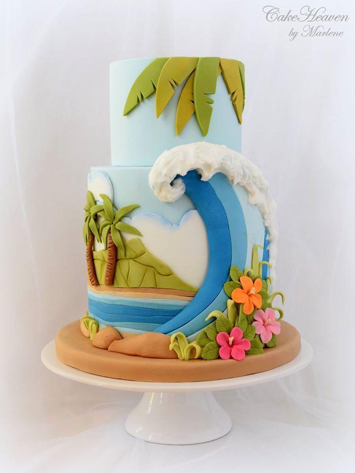 Tropical Hawaiian Themed beach wave ocean paradise cake - CakeHeaven by Marlene