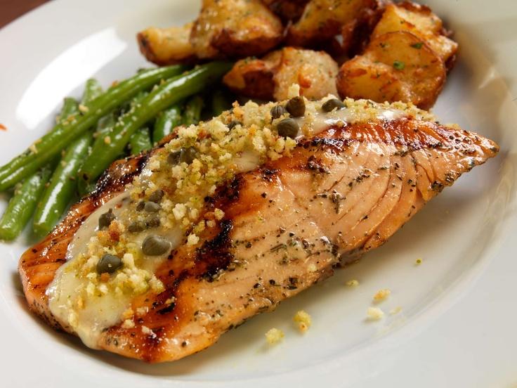 Our Grilled Salmon with seasonal vegetables, crispy potatoes, lemon ...