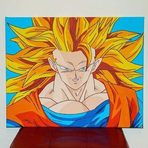 Goku Super Sayajin Fase 3. Acrílico sobre lienzo. 40 x 50 cm.  #Goku #supersaiyajin3 #DBZ #cheokuchin #mangaacolores #anime