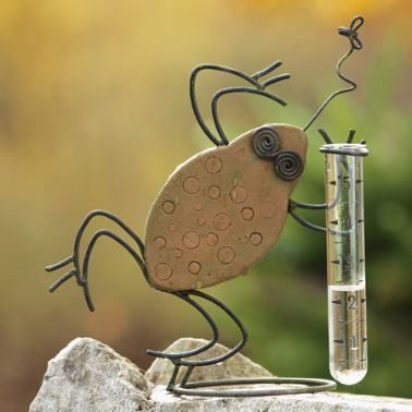 Whimsical dancing frog welcomes and measures rainfall at your place! Delightful art with functionality makes a unique garden accent. Handcrafted ceramic and wire, he's a conversation piece for all fro