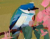 Cerulean Warbler no. 50 original bird oil painting by Angela Moulton 4 x 4 inch on panel prattcreekart
