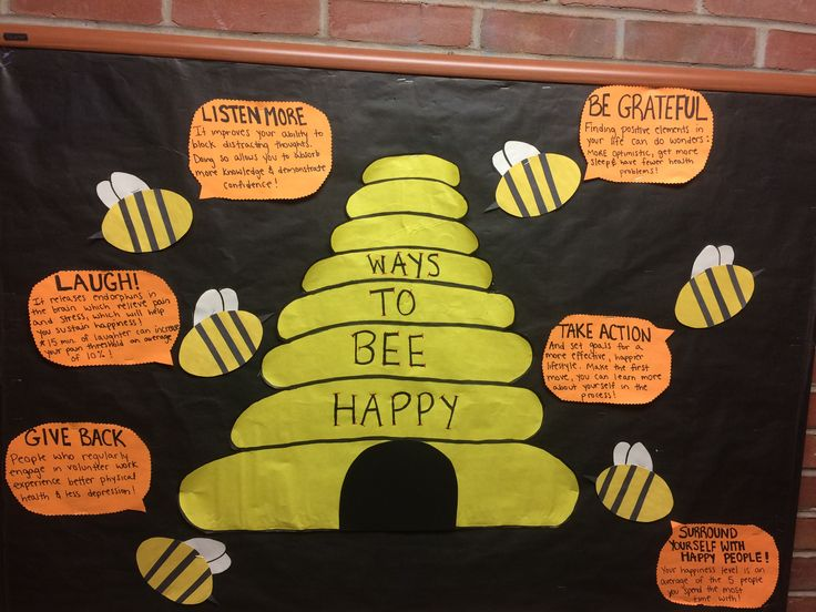 """RA, CA, res life, college bulletin board, spring, """"Ways to Bee Happy"""" bee theme"""
