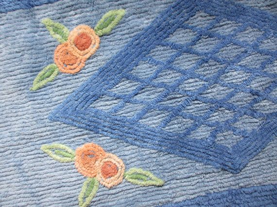 Midcentury chenille bathroom mat and toilet seat cover / original tag never used / blue pink green / floral flower by fuzzandfu on Etsy