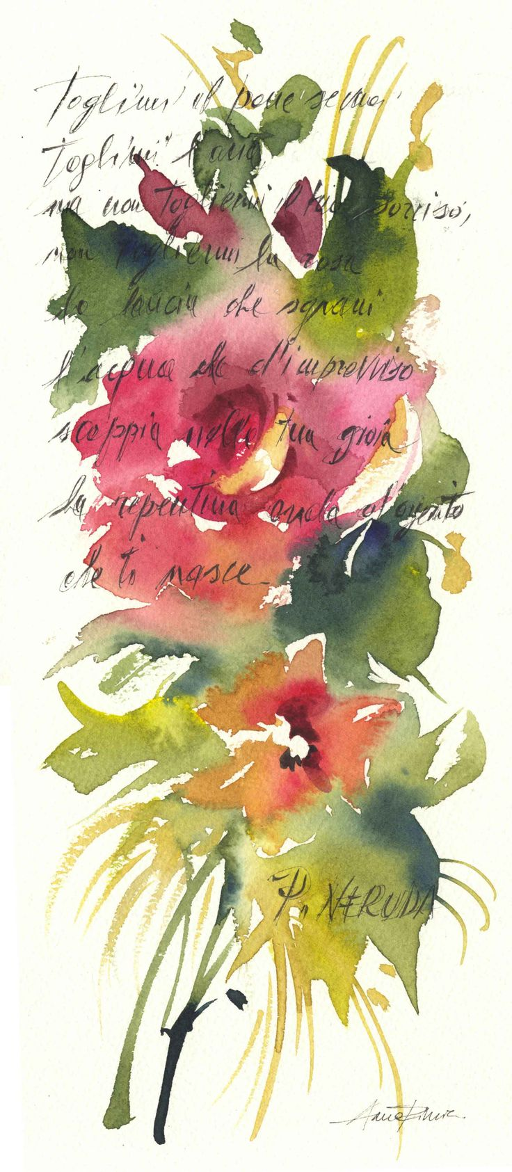 rosa  pablo  neruda   flower watercolor