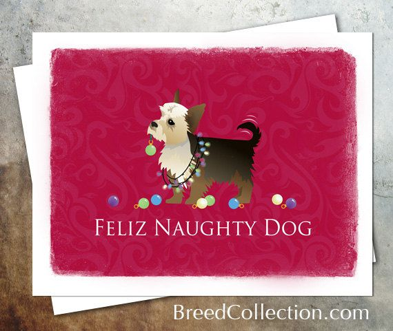 Yorkie Terrier Dog Christmas Card from the Breed Collection - Digital Download