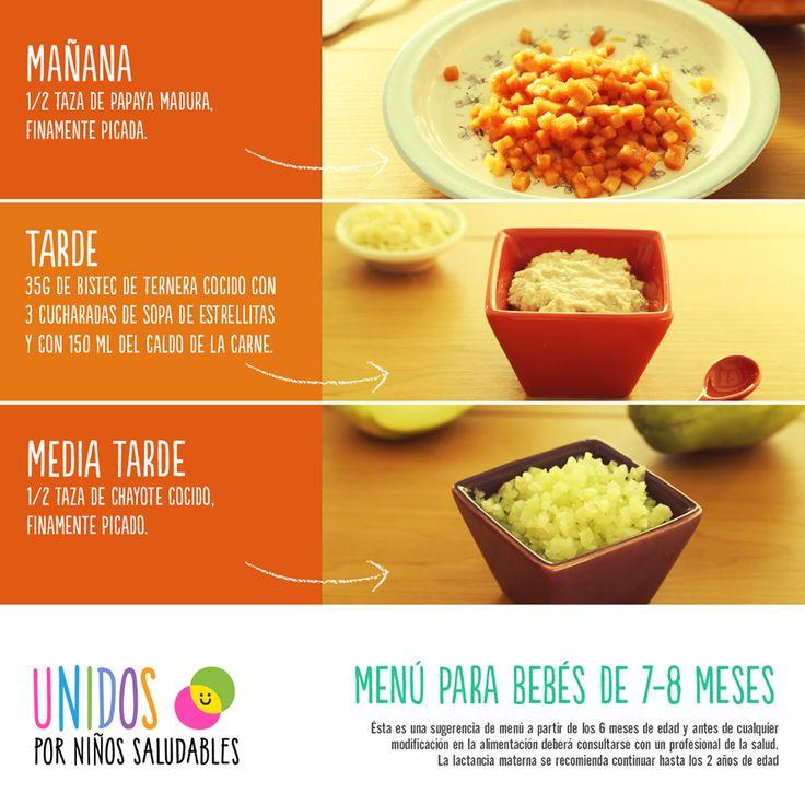 Menu para bebes de 7 8 meses comida baby pinterest - Cuantas comidas hace un bebe de 8 meses ...