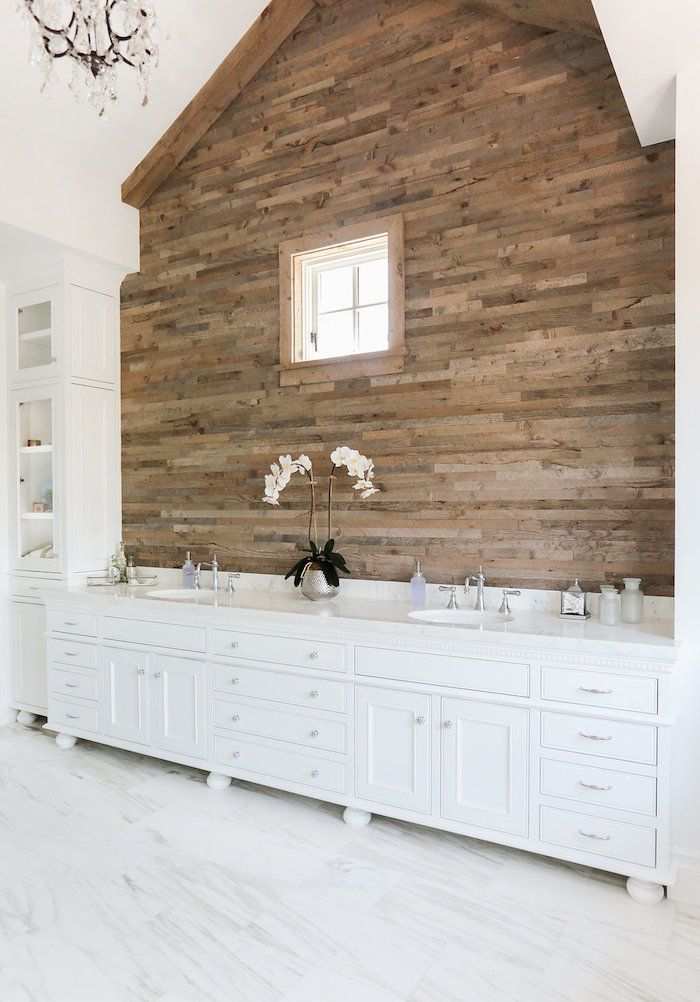 designmeetstyle:  dustjacketattic:  marble floor/wood feature wall | blackband design  Love the mixing of materials for a stunning bathroom. Like the look of wood but aren't sure about using it in a humid environment? Get a similar effect with wood-look tile.