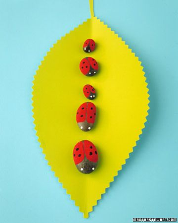 Made rock ladybugs and other things with pebbles and paint. Bees cute too. Strawberries fun to make as well as truck.