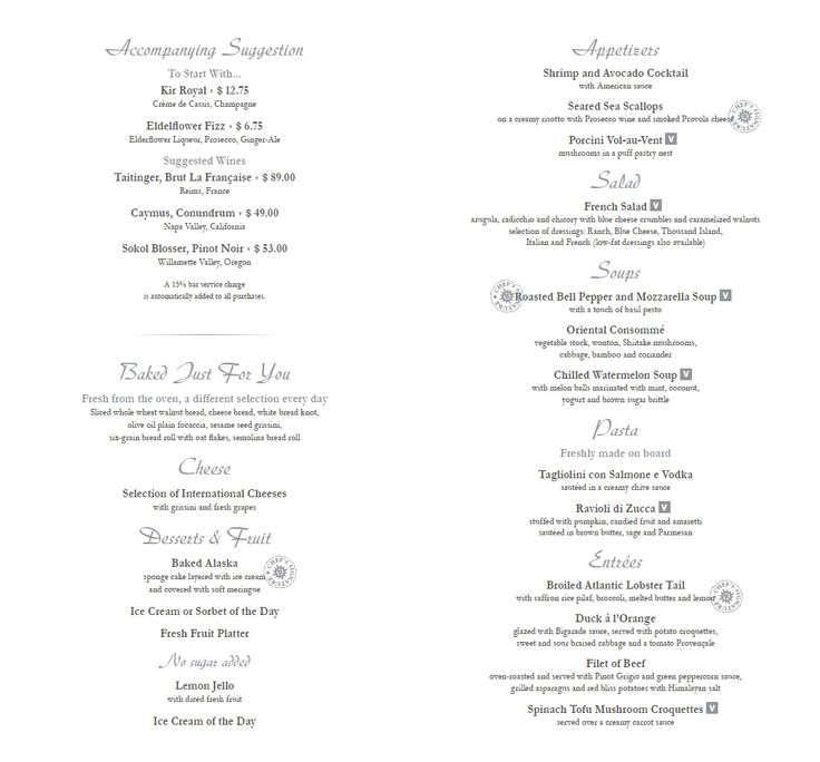 28 best MSC Divina Main Dining Room Menus images on Pinterest - dinner menu