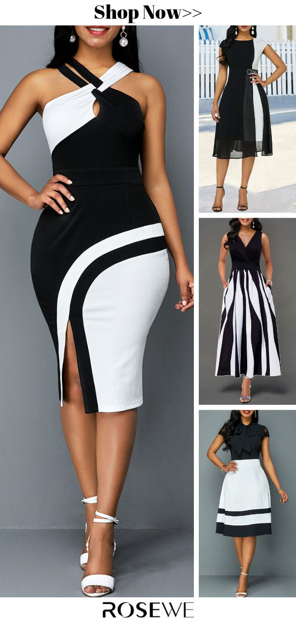 Hot Sale & Color Block Sleeveless Side Slit Sheath Summer Dress