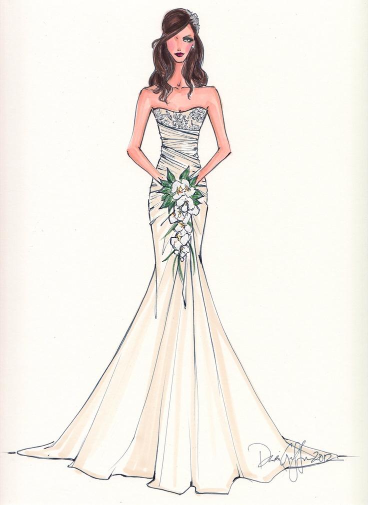 Wedding dress sketches on wedding invitation pattern card template