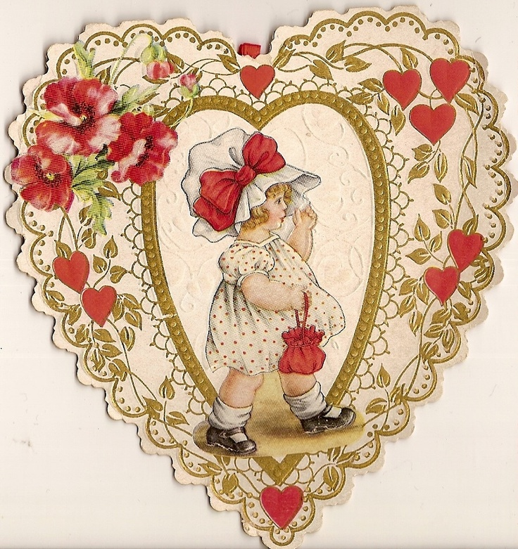 Vintage valentine - so cute, would make a great card topper.