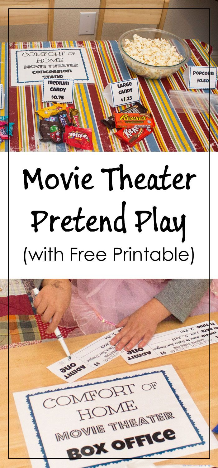 ... Pretend Play with free printable for tickets, signs, and food labels