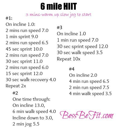 6 mile HIIT treadmill workout