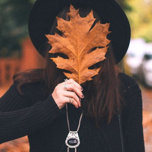 """fresh-fallen-leaves: """" kaciecone: """" Because there is not enough photos of girls holding leaves in front of their faces #ilovefall """" """"sweater weather"""" """""""