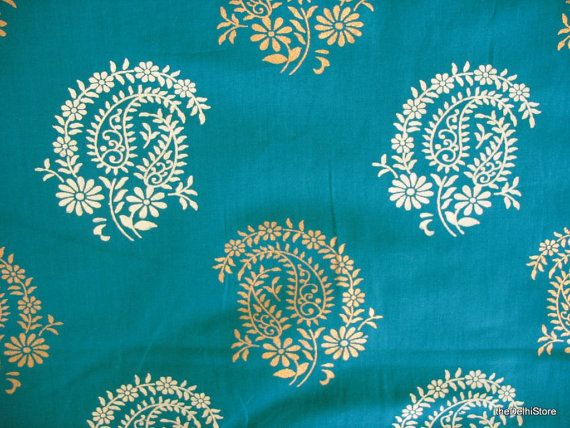 Paisley Block Printed Indian Cotton Fabric in Teal Color by Yard