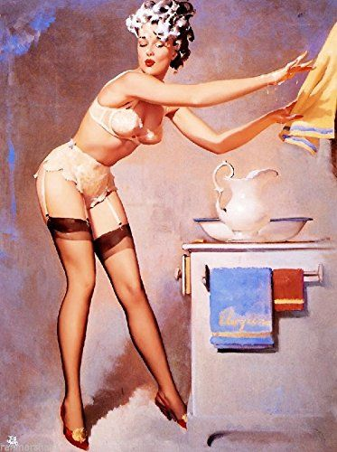 Amazon.com: 1940s Pin-Up Girl Washing My Hair Picture Poster Print Art Pin Up: Posters & Prints