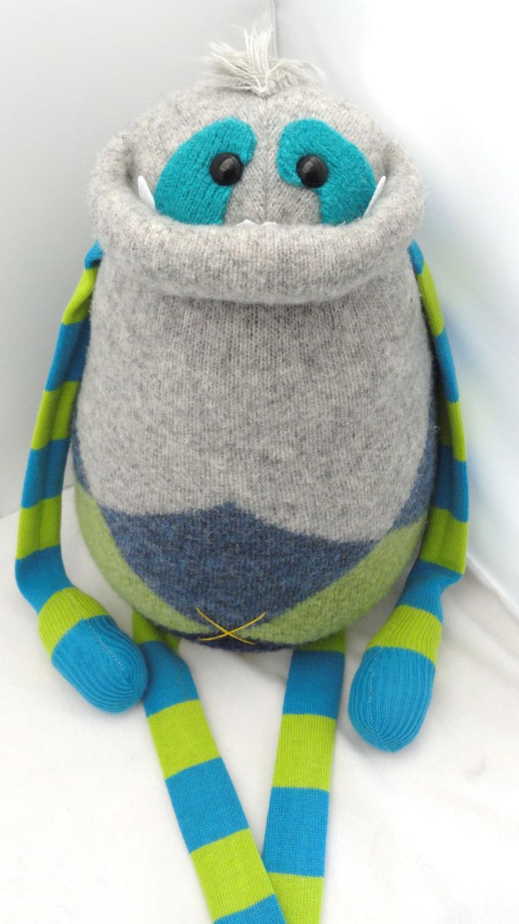 Smug Monster plush upcycled from sweaters by BirdIsTheWordDesign, $47.00 Design may not be copied or reproduced in any way.