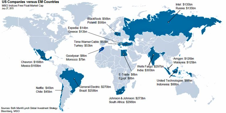 This map shows how some colossal US companies are worth more than the entire stock markets of other countries  |  Wells Fargo is bigger than all stocks listed in India, and BlackRock outweighs Poland.