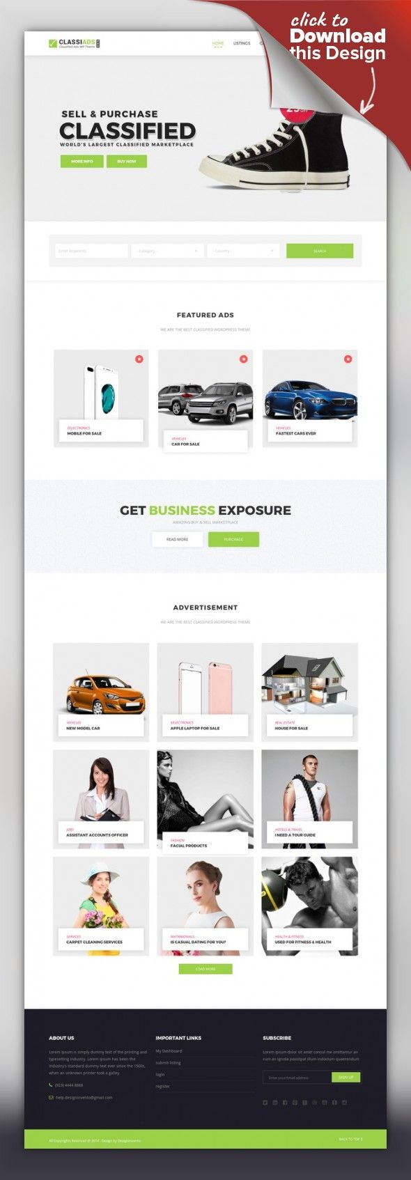 Classiads - Classified Ads WordPress Theme ads, advertise, advertising, bbpress, business, classified, classified ads, corporate, database, directory, jobs, listing, local, marketing, portal Classiads – Classified ads Wordpress theme The ClassiAds is all time #1 Premium Classified Ads WordPress Theme on Themeforest. We know its a perfect choice for your business. Super flexible, Ri...