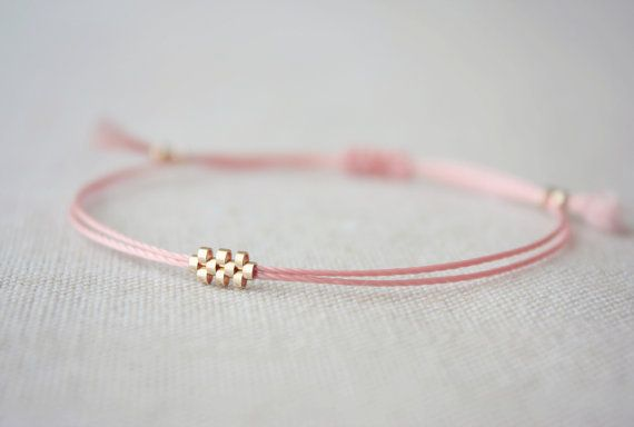 Shiloh / Pink Friendship Bracelet with Woven Small Gold Beads