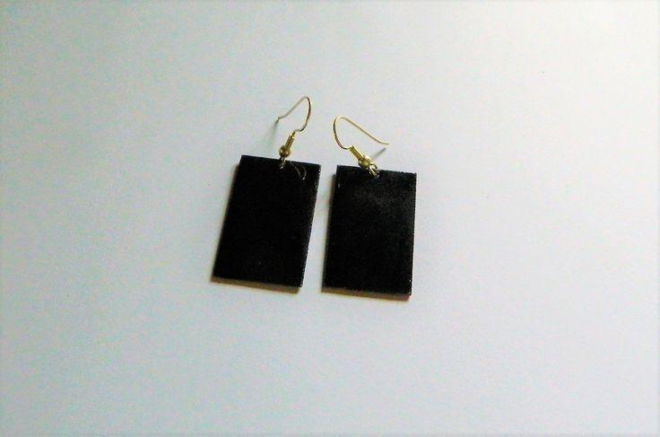 Black oblong enamel earrings, handmade jewellery for Mom, ladies gift, jewelry vitreous enamel, present for her birthday, wife anniversary by AlsCraftyCorner on Etsy