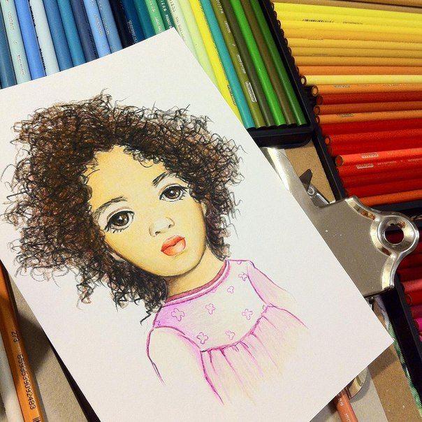 Бомбическая кудрявая бэйбочка в коллекцию #арт #портрет #дети #девочка #бэйба #art #baby #girl #prismacolor #drawing #portrait #children #бэйбаколлекция
