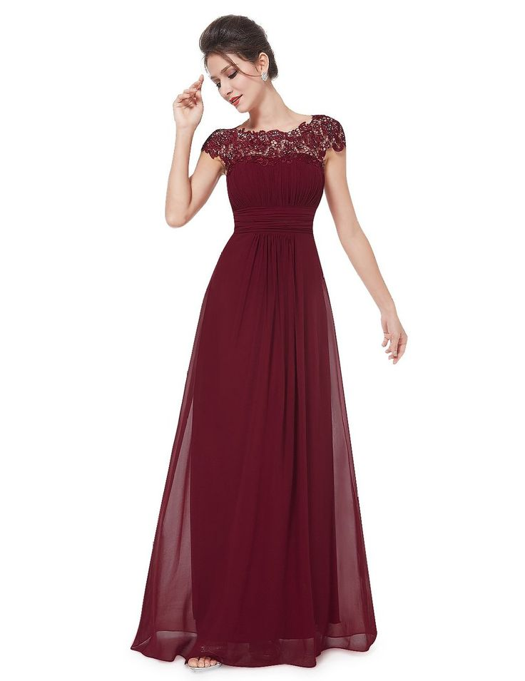 Amazon.com: Ever Pretty Women's Cap Sleeve Lace Neckline Ruched Bust Evening Gown 09993: Clothing