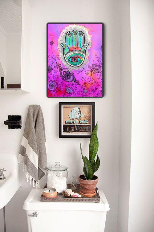 Mano de Hamsa coloridos instantánea Digital descargar arte, Deco de arte judío, buena suerte Hamsa, mano de bendición puerta de Fatima, Hanukkah regalo arte judaico