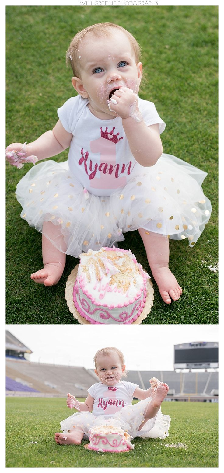 Ryann's one year session and cake smash, East Carolina University's Dowdy Ficklin Stadium, Will Greene Photography