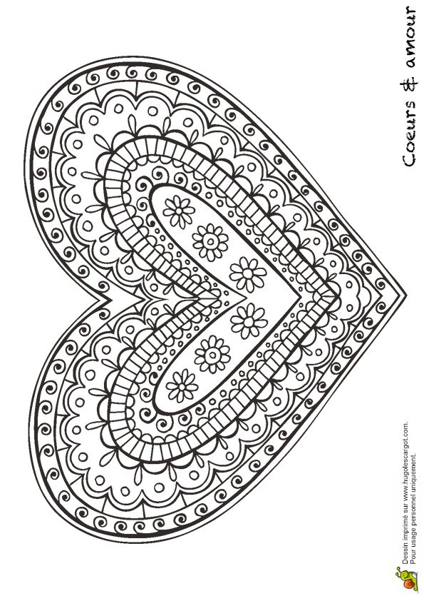 Kleurplaat voor #moederdag | coloring page for #Mother's day | coeur #mandala geometrique
