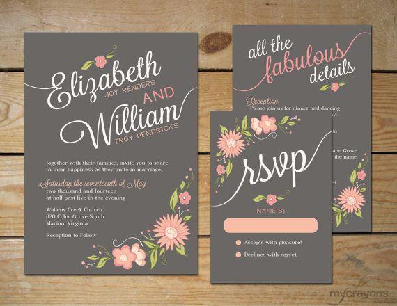 Romantic Floral Wedding Invitation Set // DIY Printable // Pewter Gray, Peach and Blush Pink on Etsy, $60.00