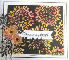 Hi bloggers!  We have a pixie powdered card for our pick for the day.  I started by creating the background by using Sun Yellow, Candy...