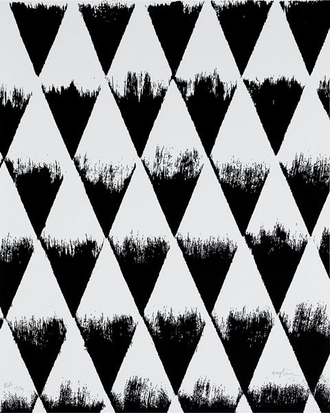 Black & white pattern with stamped triangles, geometric print design // Patrick Saytour