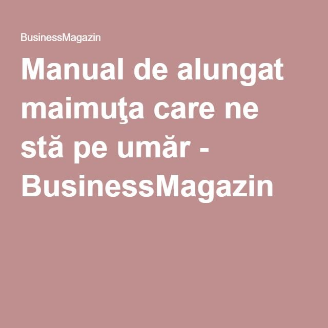 Manual de alungat maimuţa care ne stă pe umăr - BusinessMagazin