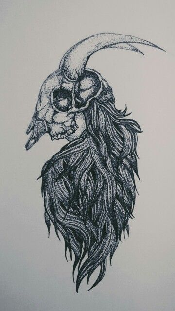 Skull baphomet Pointilis art