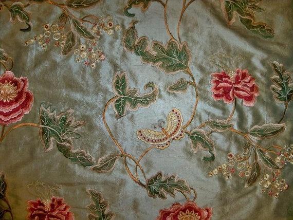 colefax fowler oriental poppy butterflies embroidered silk fabric 10 yards green multi