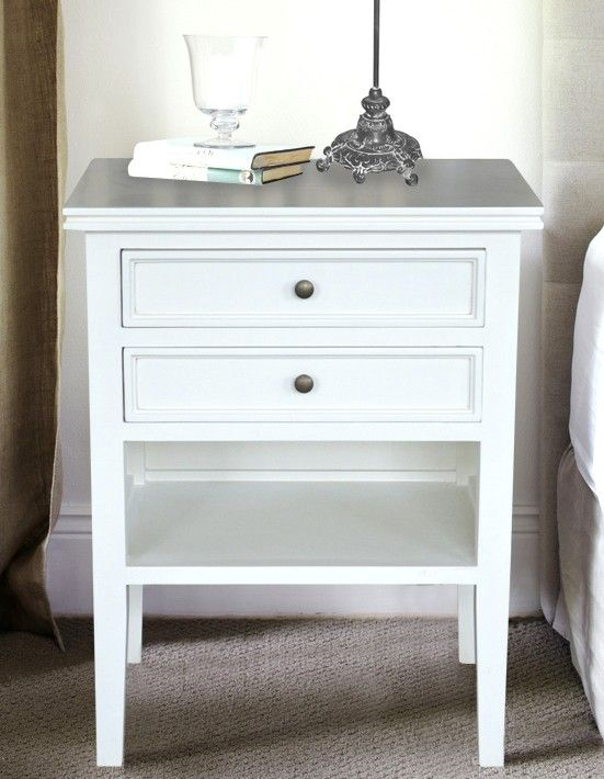White Bedside Table - 2 Drawers and Shelf