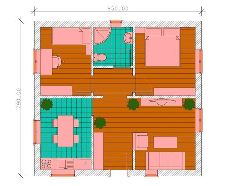 proiecte de case fara etaj cu 2 dormitoare Two bedroom single story house plans 4