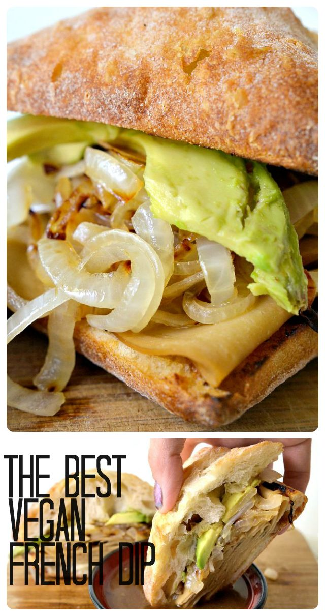 Housevegan,com: The Best Vegan French Dip -  This delicious version of the French Dip Sandwich is loaded up with caramelized onions, avocado, and au jus-soaked Tofurkey. It's big, it's juicy, and it's amazing!