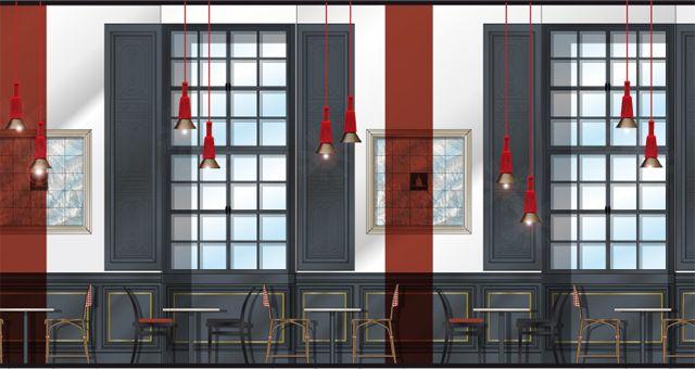 """Élévation du café-restaurant """"Le carré des Invalides"""" du musée de l'Armée"""