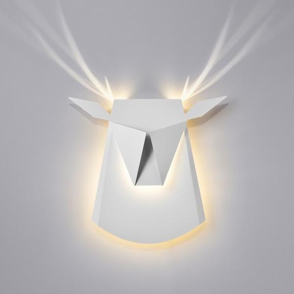 White Aluminum Deer Head LED light fixture