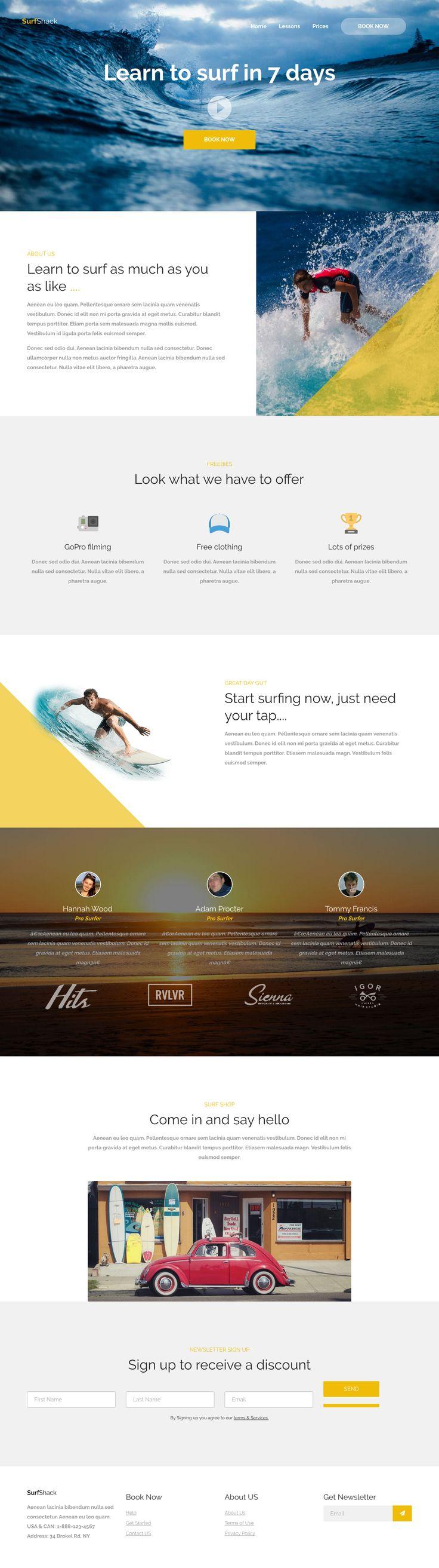 Surf Shack frontpage. See the live version: http://jjsd.co.uk/freebies/surf-shack/