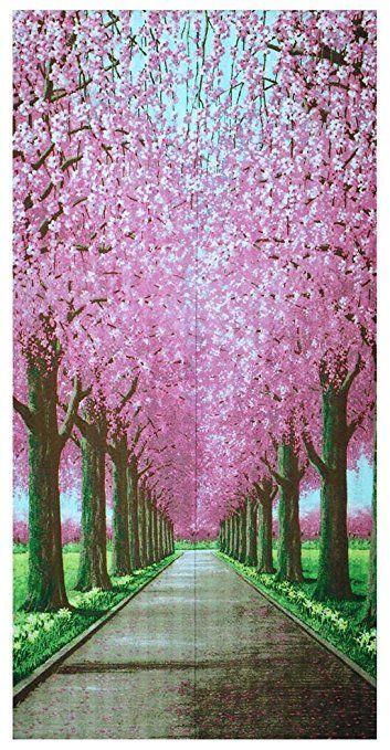 コスモ のれん 桜並木道 85×170