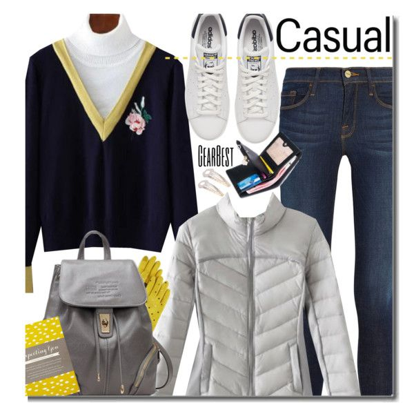 Casual by beebeely-look on Polyvore featuring Frame, adidas Originals, Echo, COMPENDIUM, casual, sneakers, backpacks, wintersweater and gearbest