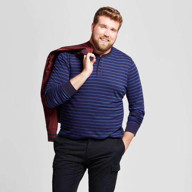 Men's Big & Tall Standard Fit Long Sleeve Henley T-Shirt - Goodfellow & Co Navy (Blue) 2XBT