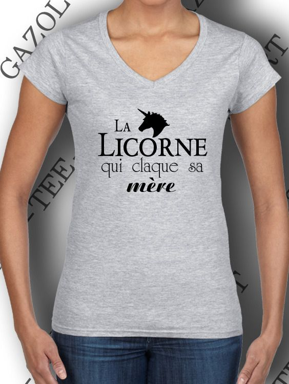 """T-shirt """"La licorne qui claque sa mère. """" fashion humour provoc. : T-Shirt, debardeurs par gazol-tee-shirt"""